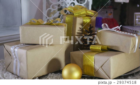 Christmas Presents and Ornaments on Woodenの写真素材 [29374518] - PIXTA