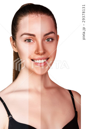 young woman before and after tanning の写真素材 29378131 pixta
