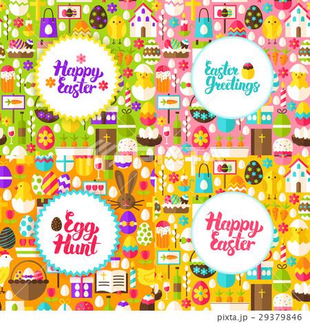 Flat Happy Easter Postcardsのイラスト素材 [29379846] - PIXTA