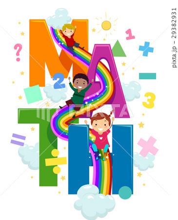 stickman kids math rainbow slideのイラスト素材 29382931 pixta