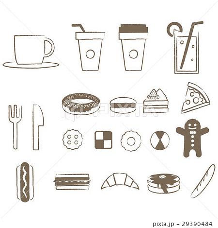 やさしい線画 カフェとパンとスイーツ 29390484