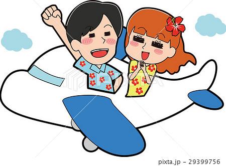 アロハシャツを着て飛行機に乗るカップルのイラスト 29399756
