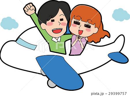 飛行機に乗るカップルのイラスト 29399757