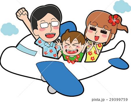 アロハシャツを着て飛行機に乗る家族のイラスト 29399759