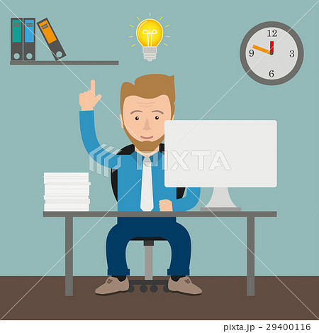 Cartoon Businessman Bulb Idea Office 29400116