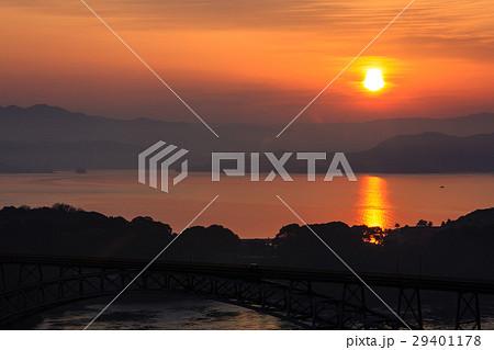 西海橋の夜明けと日の出 西海の丘展望台から 29401178