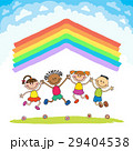 Kids jumping with joy on a hill under rainbow 29404538
