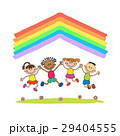 Kids jumping with joy on a hill under rainbow 29404555