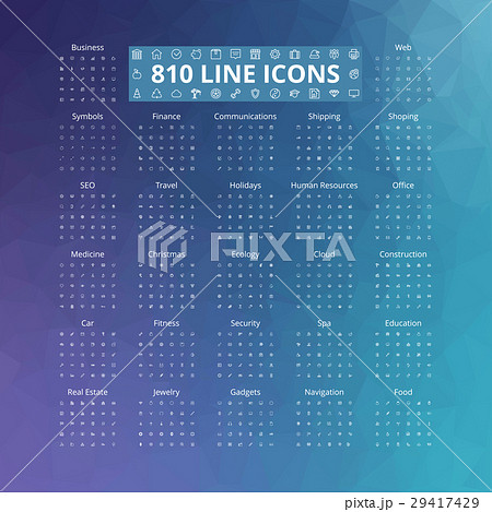 810 Line Icons Set 29417429