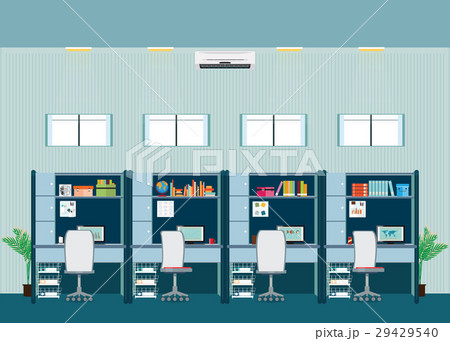 modern office interior with office desk のイラスト素材 29429540