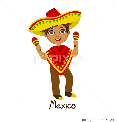 boy in mexico country national clothes wearingのイラスト素材