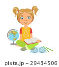 Girl Reading A Geography Book, Part Of Kids Loving 29434506