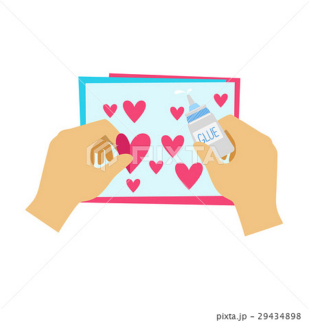 Two Hands Gluing Hearts To Paper Postcardのイラスト素材 [29434898] - PIXTA