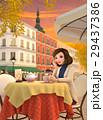 3D イラスト - 街角のカフェで珈琲を飲んでいる女性 29437386