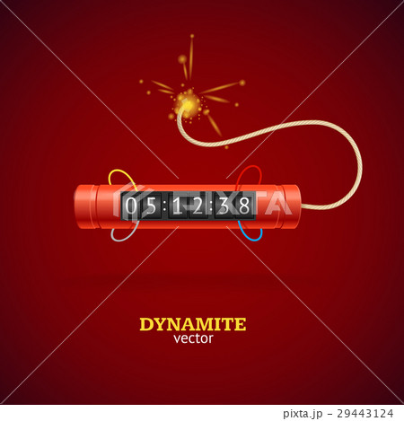detonate dynamite bomb and timer clock vectorのイラスト素材