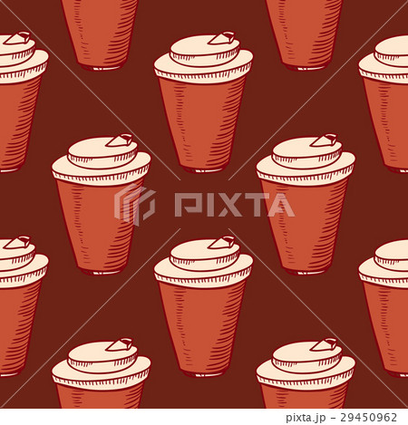 Seamless pattern with cups of coffeeのイラスト素材 [29450962] - PIXTA