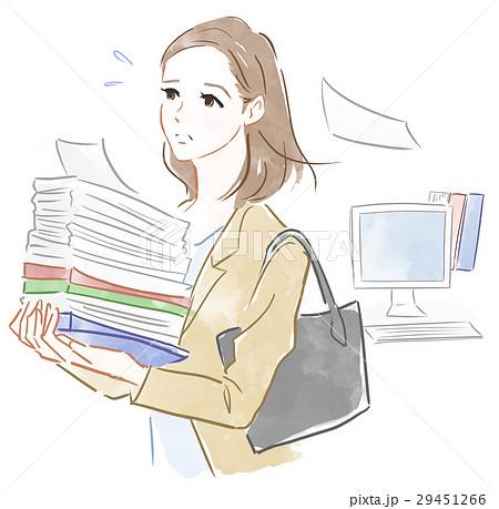 忙しく働く女性のイラスト素材 29451266 Pixta