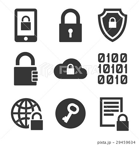 Digital Encrypt Technology Security Icons Set 29459634