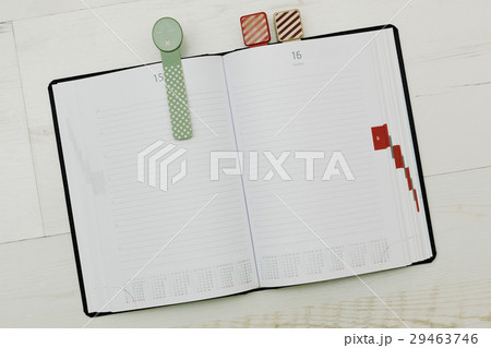 Modern-styled diary with cozy bookmarksの写真素材 [29463746] - PIXTA