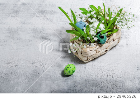 Eggs with flowers on a white background. Easterの写真素材 [29465526] - PIXTA
