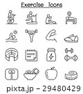 Exercise icon set in thin line style 29480429
