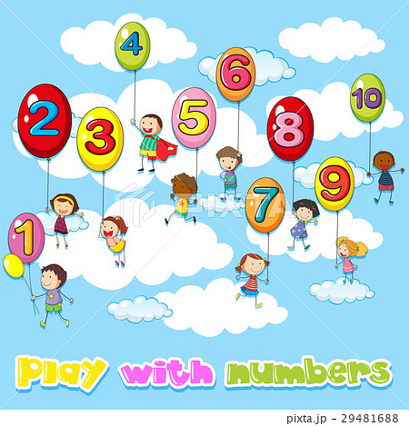 children and balloons with numbersのイラスト素材 29481688 pixta