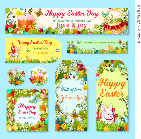 Easter egg and rabbit gift tag with flower decor easter egg and rabbit gift tag with flower decor negle Image collections