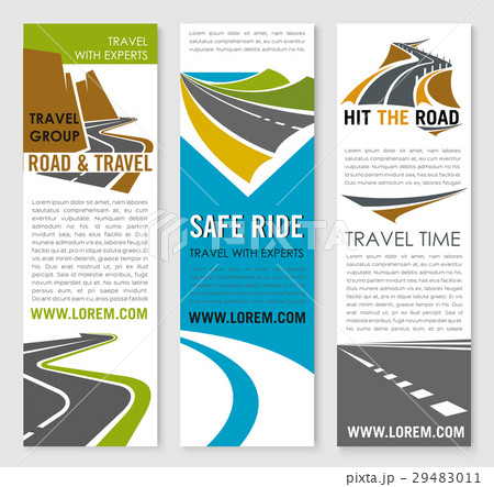road trip and travel banner template set designのイラスト素材