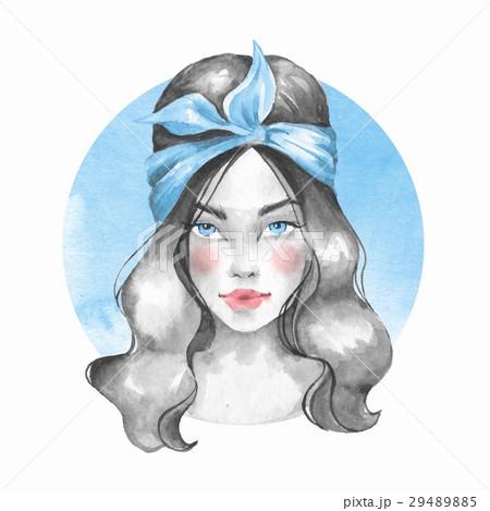 Summer girl. Watercolor female face 29489885