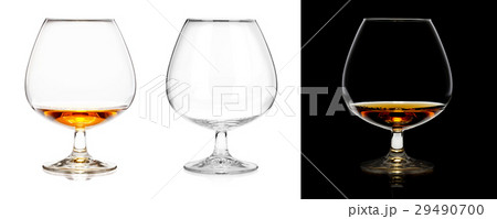 Brandy glasses (empty and with alcohol) isolated の写真素材 [29490700] - PIXTA