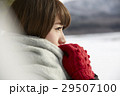 湖畔 冬 女性の写真 29507100