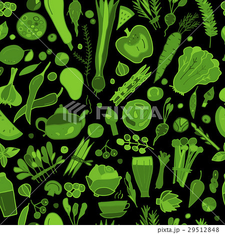 Green vegetables, detox. Seamless pattern designのイラスト素材 [29512848] - PIXTA