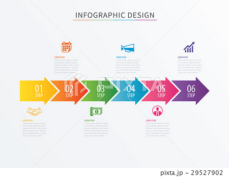 infographics arrow number 6 step template のイラスト素材 29527902