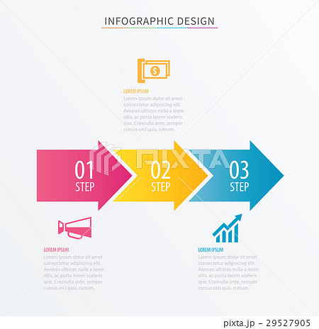 infographics arrow number 3 step template のイラスト素材 29527905