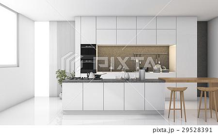 white modern kitchen with light from windowのイラスト素材 [29528391] - PIXTA