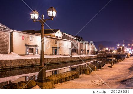 小樽運河  夜景  ガス灯  冬 29528685