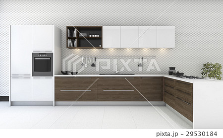 wooden decor kitchen with nice wallpaperのイラスト素材 29530184