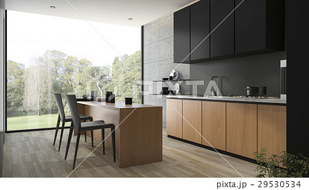 modern black kitchen with wood built in 29530534