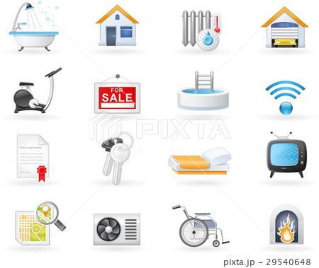 Accommodation amenities icon set 29540648