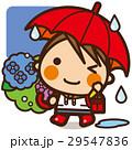 小学生 女の子 梅雨のイラスト 29547836