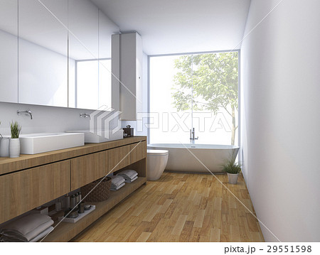 wood clean bathroom with built in design 29551598