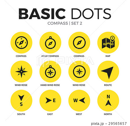 Compass flat icons vector set 29565657
