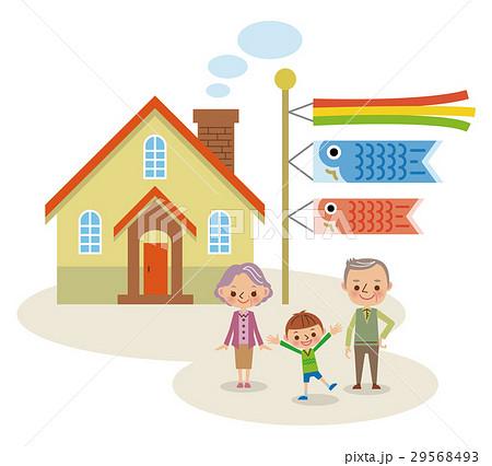 鯉のぼりと祖父母と孫 29568493