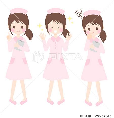 悩む・喜ぶ・指さす看護師 女性 かわいいイラスト素材セット ベクター・背景透過・白背景 29573187