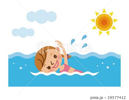 海で泳ぐ女の子のイラスト素材 29577412 Pixta
