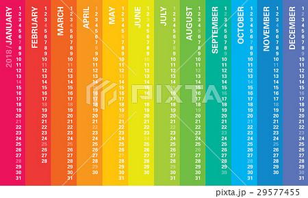 Creative calendar 2018, rainbow horizontal design 29577455