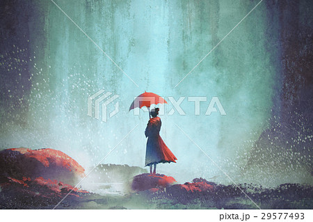 woman with an umbrella standing against waterfall 29577493