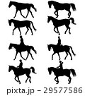 Set vector silhouette of horse and jockey 29577586
