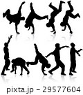 Silhouettes breakdancer on a white background.  29577604