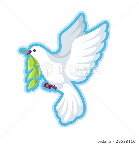 White dove of peace bears olive branch 29583110